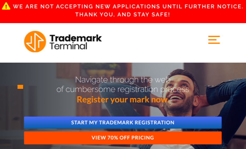 Trademark Terminal informs users that it is no longer accepting new applications