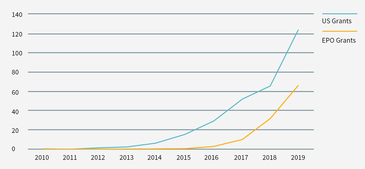Figure 2: CAR-T-related patent grants by year