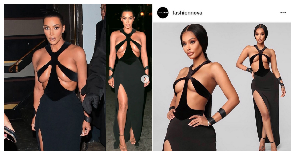 Figure 4: Kim Kardashian in 1998 Mugler dress (left); Fashion Nova's Winning Beauty Cut Out Gown (right)