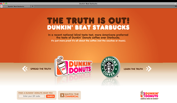 Dunkin' Donuts' campaign incorporated Starbucks' mark in the campaign title and domain name