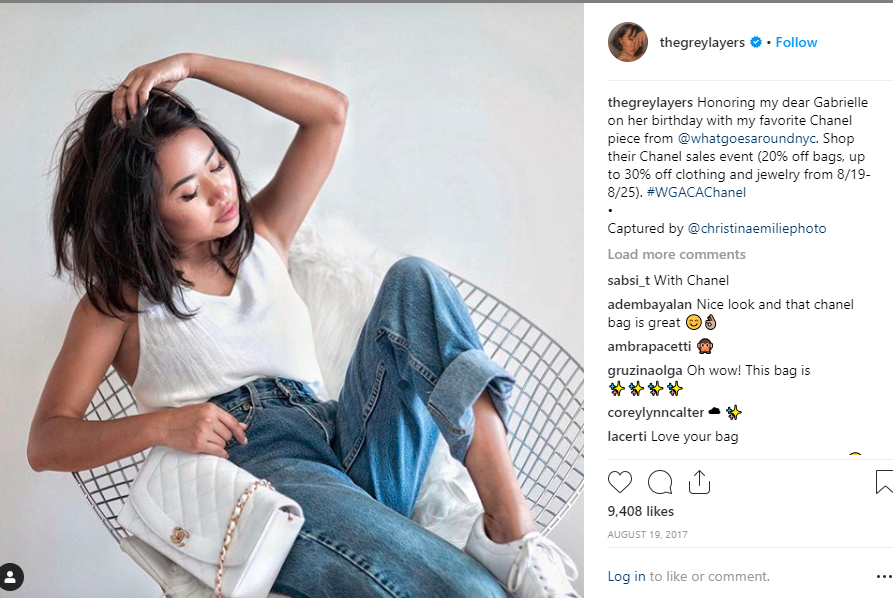 Instagram search results for #WGACACHANEL revealed @thegreylayers posting an image of herself with her favourite Chanel product, possibly in partnership with WGACA (account last visited 7 May 2019)
