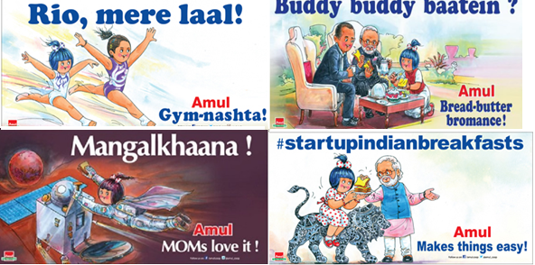 Various depictions of the 'Amul' girl