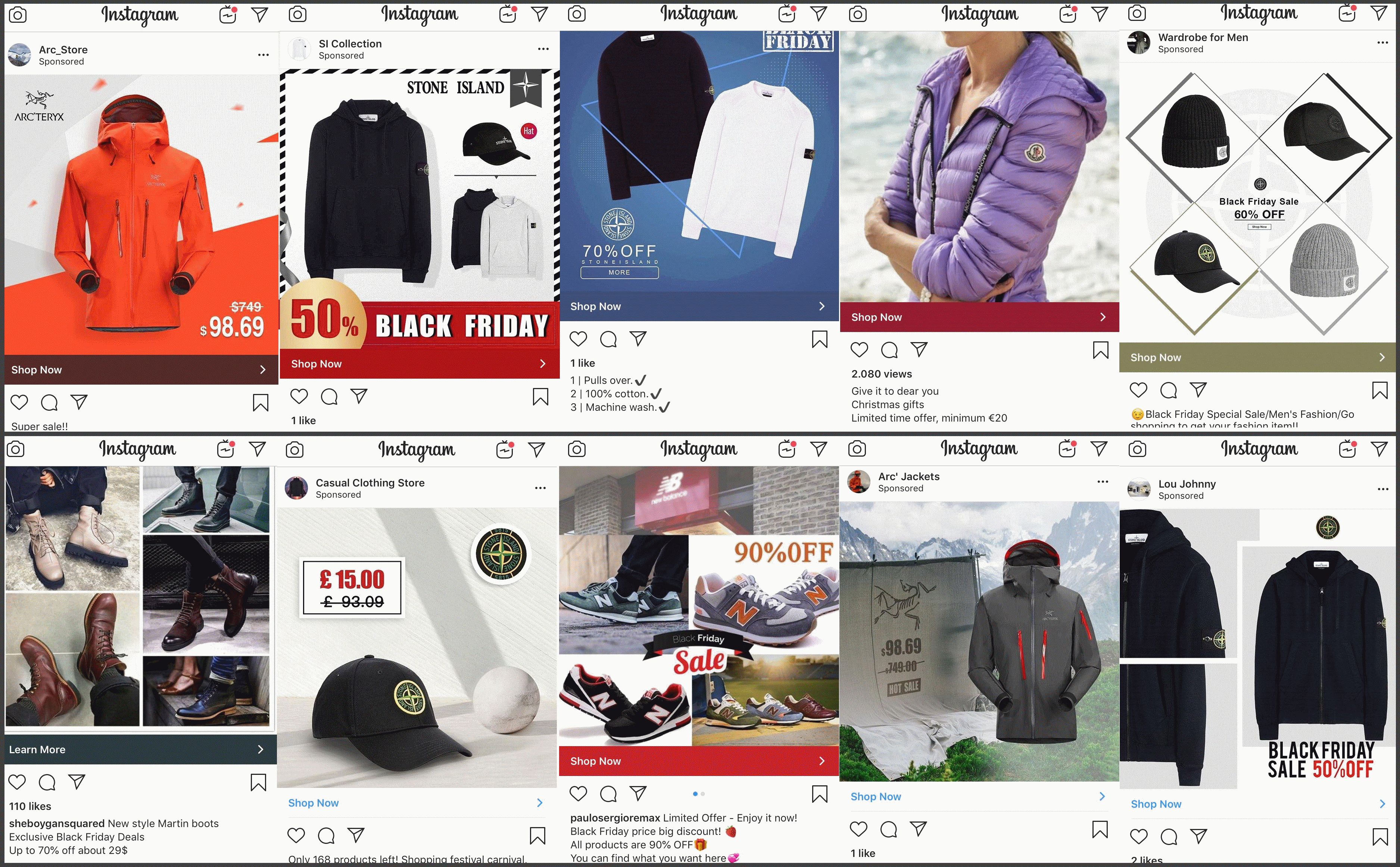 A variety of Instagram ads identified in the past few days