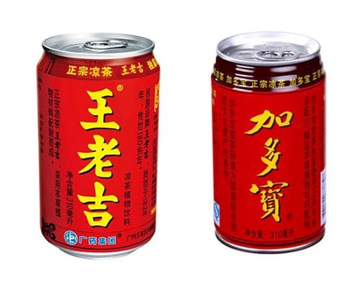 Red can designs of Wanglaoji (left) and Jiaduobao (right)